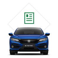 Predný trojštvrťový pohľad na 5-dverovú Hondu Civic sgrafikou katalógu.