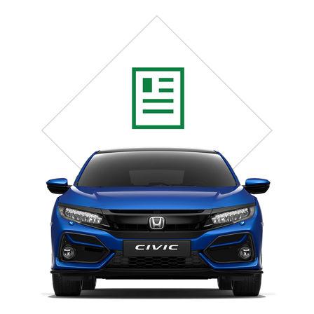 Predný trojštvrťový pohľad na Hondu Civic sgrafikou katalógu.