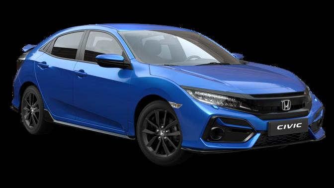 Trojštvrťový pohľad spredu na model Honda Civic EX SportLine v prevedení Obsidian Blue Pearl