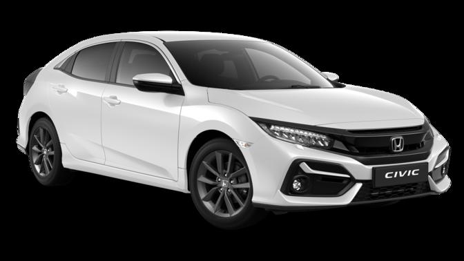 Trojštvrtinový pohľad spredu na model Honda Civic 5D Comfort Sport Line v prevedení Platinum White