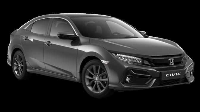 Trojštvrťový pohľad spredu na model Honda Civic 5D EX v prevedení Rallye Red