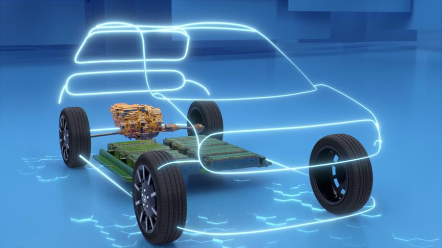 Trojštvrťový záber spredu zobrazujúci veľkosť akumulátora elektromobilu