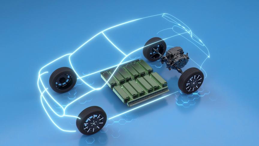 Trojštvrťový záber zhora spredu zobrazujúci veľkosť akumulátora elektromobilu