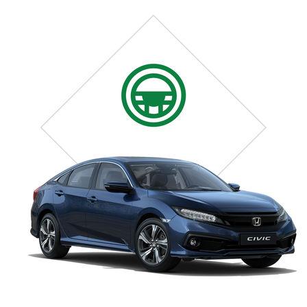 Predný trojštvrťový pohľad na model Honda Civic sedan sgrafikou skúšobnej jazdy.