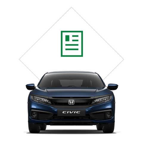 Predný pohľad na model Honda Civic sedan sgrafikou katalógu.