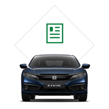 Front facing Honda Civic 4 door with brochure illustration.