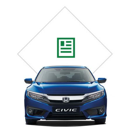 Predný pohľad na 4-dverovú Hondu Civic s grafikou katalógu.