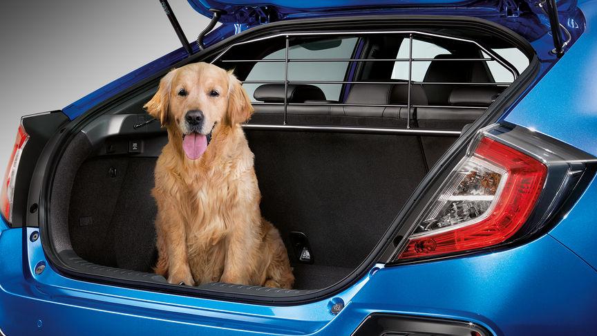 Zadný trojštvrťový pohľad na 5-dverovú Hondu Civic s mrežou na prevoz psa.