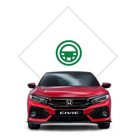 Predný pohľad na Hondu Civic s grafikou skúšobnej jazdy.