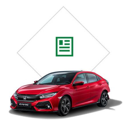 Predný trojštvrťový pohľad na Hondu Civic s grafikou katalógu.