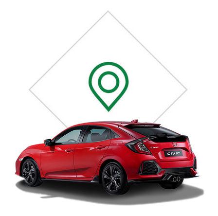 Zadný trojštvrťový pohľad na Hondu Civic s grafikou predajného miesta.