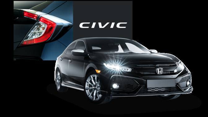 Trojštvrťový záber na model Honda Silver Line slogom Honda Civic.