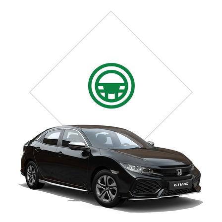 Trojštvrťový pohľad spredu na model Honda Civic s balíkom Silver Line sgrafikou skúšobnej jazdy.