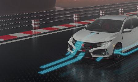 Snímka modelu Honda Civic Type R zobrazuje aerodynamiku a výkon