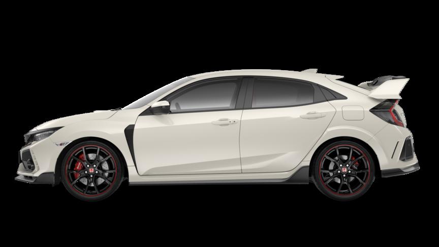 Bočný pohľad na vozidlo Honda Civic Type R vo farbe Championship White.