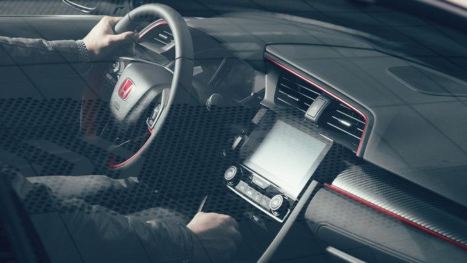 Trojštvrťový pohľad na palubnú dosku a kožený volant modelu Honda Civic Type R
