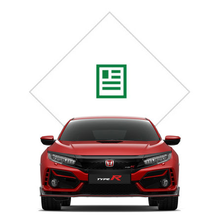 Predný pohľad na Hondu Civic Type R sgrafikou katalógu.