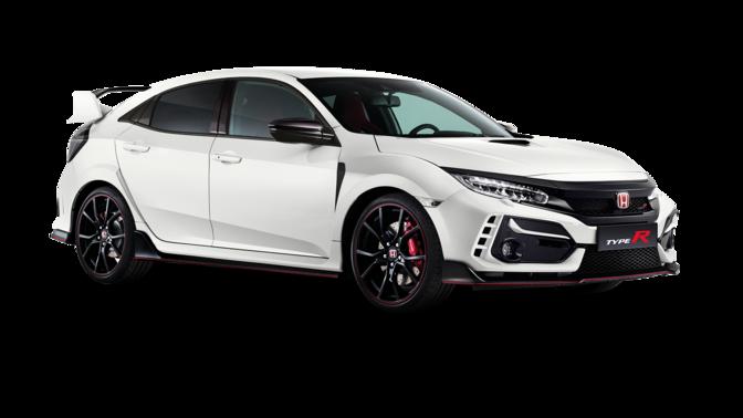 Trojštvrťový záber spredu zľava na model Honda TypeR v štúdiu.