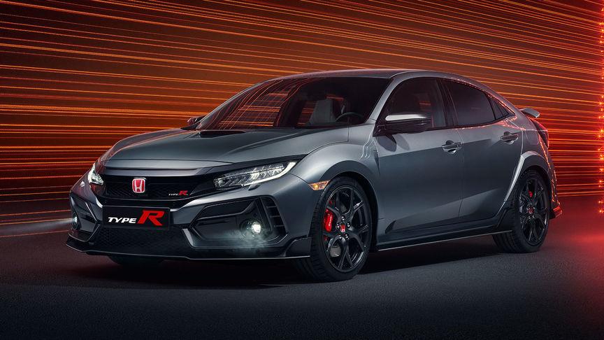 Trojštvrťový záber spredu na model Honda Civic Type R Sport