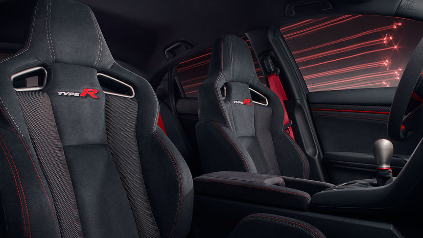 Detailný záber na sedadlá modelu Honda Civic Type R Sport Line