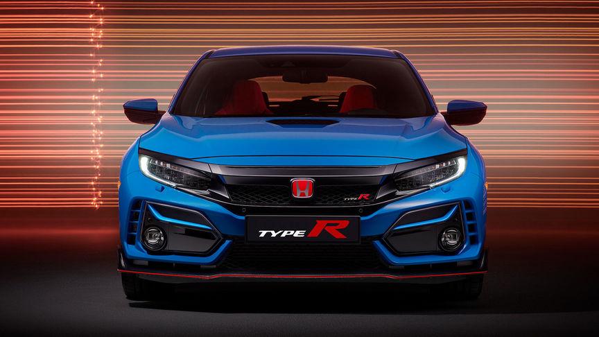 Pohľad spredu na modrý model Honda Civic Type R GT