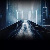 Futuristická panoráma mesta v noci