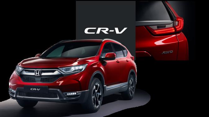 Predný trojštvrťový pohľad na Honda CR-V spriblíženým pohľadom na zadné svetlá alogo CR-V.