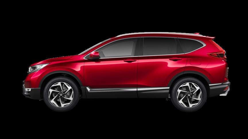 Bočný pohľad na model Honda CR-V vmetalickom laku Premium Crystal Red.
