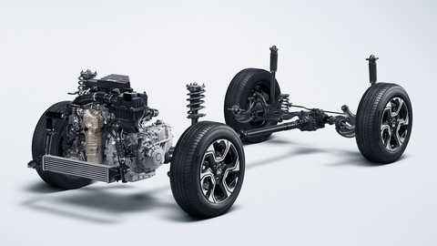 Konštrukcia podvozka modelu Honda CR-V.