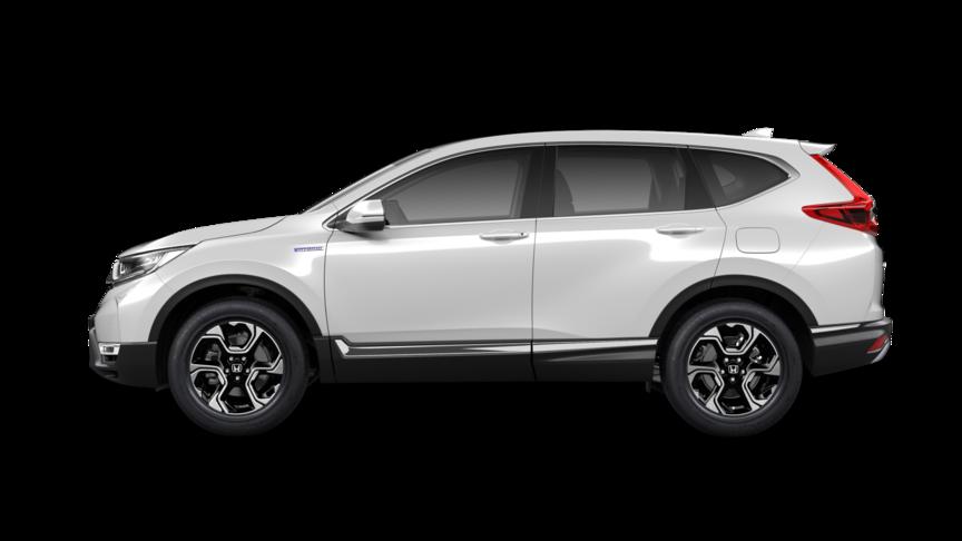 Bočný pohľad na vozidlo Honda CR-V Hybrid vperleťovej bielej farbe Platinum White Pearl.