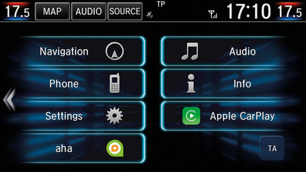 Detailný záber na ikony na dotykovej obrazovke vozidla Honda CR-V Hybrid.