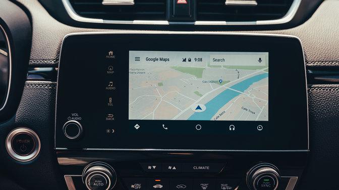 Detailný bočný záber na ikony na dotykovej obrazovke vozidla Honda CR-V Hybrid.