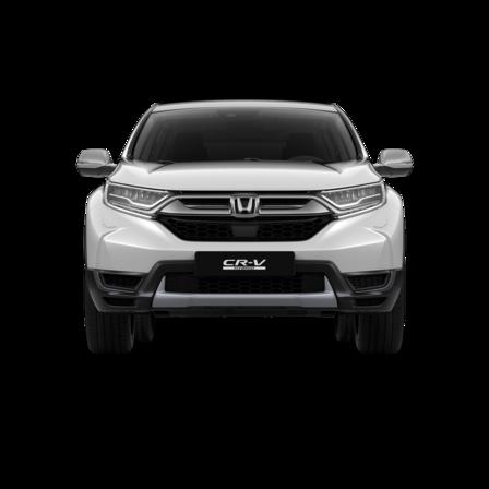 Pohľad spredu na biele vozidlo Honda CR-V Hybrid.