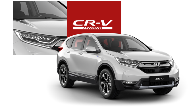 Front three-quarter facing Honda CR-V Hybrid with close up feature and logo.