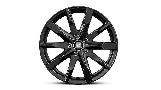 Detailný záber na model Honda CR-V s18-palcovými kolesami zľahkých zliatin s povrchom v prevedení Gunpowder Black.