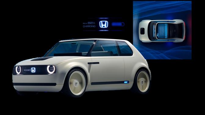 Trojštvrťový pohľad na prednú časť modelu Honda Clarity Fuel Cell slogom Honda.