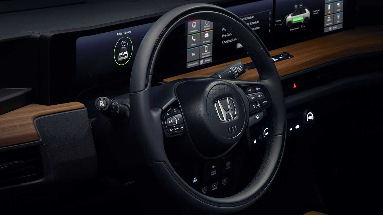 Close up of Honda e steering wheel.