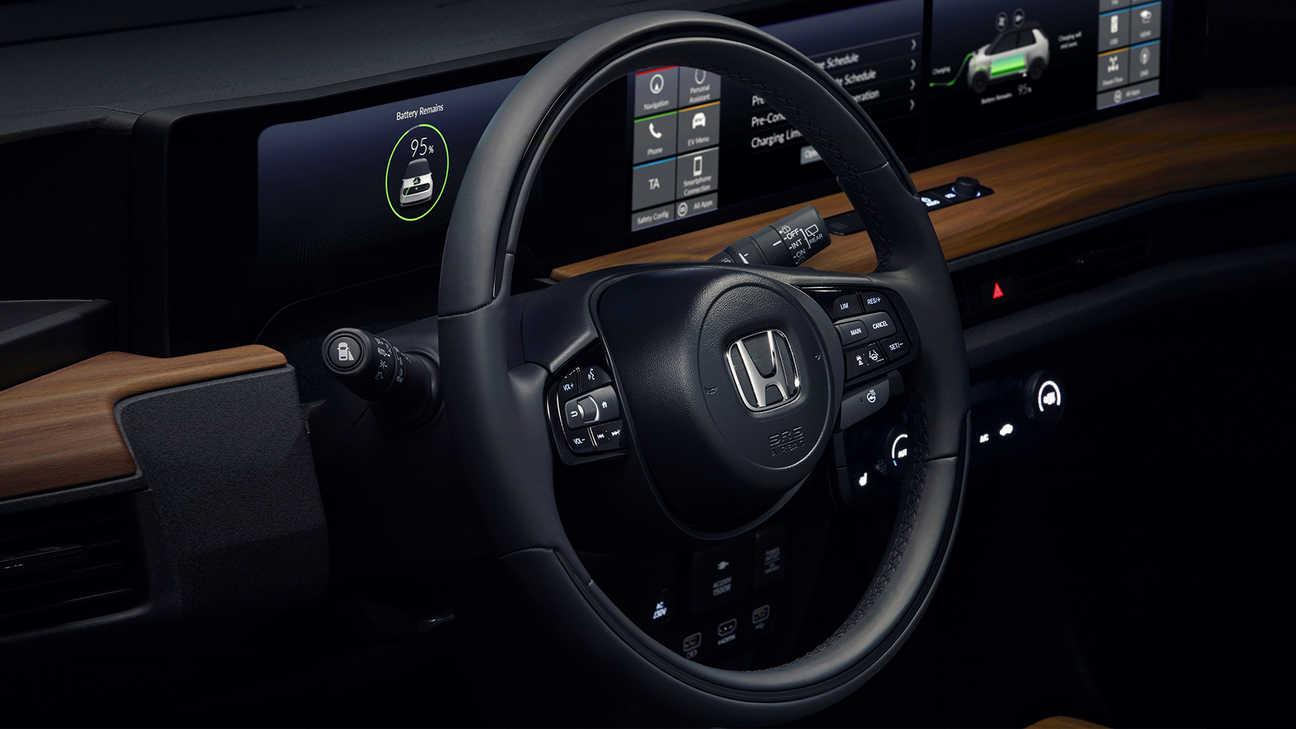 Close up of Honda e steering wheel.
