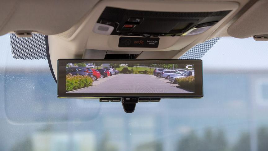 Close up of Honda e Rear-view Camera Mirror System.