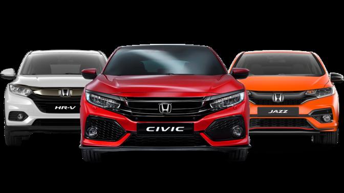 Červený model CR-V, biely model HR-V, oranžový Jazz a čierny model Civic Type R na bielom pozadí