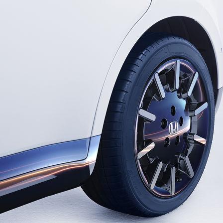 Detailný záber na koleso vozidla Honda e.