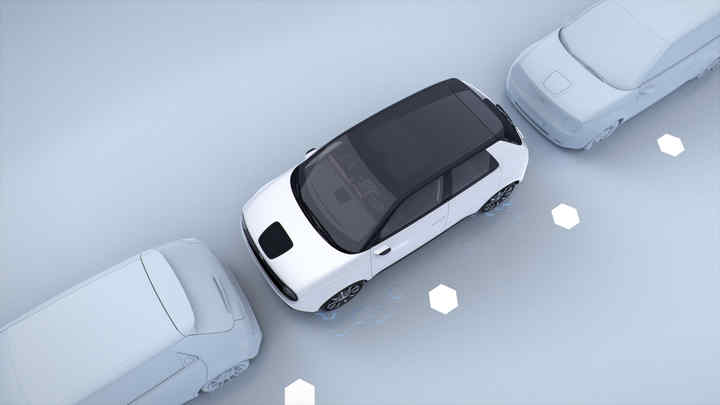 Still from Honda video to show Parking Pilot and Side-Camera Mirror System.