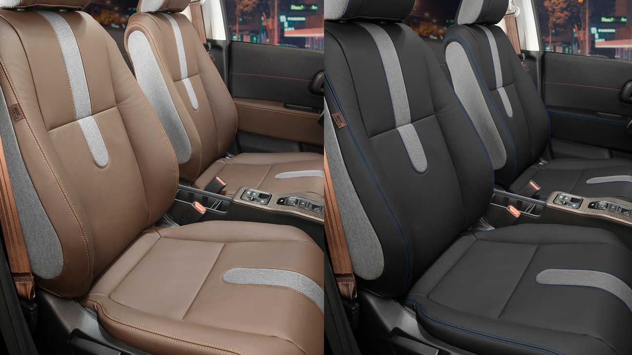 Bočný pohľad na predné sedadlá znázorňujúci dve možnosti koženého čalúnenia