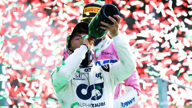 Pierre Gasly celebrating his Formula 1 victory at the Italian Grand Prix
