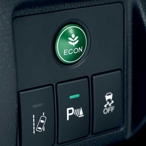 Detailný záber na tlačidlo Econ modelu Honda HR-V.