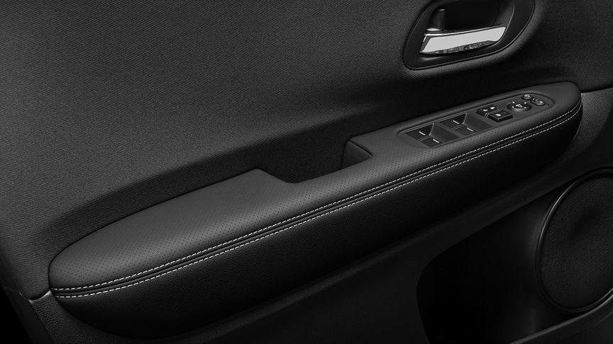 Honda CR-V leather upholstery interior shot.