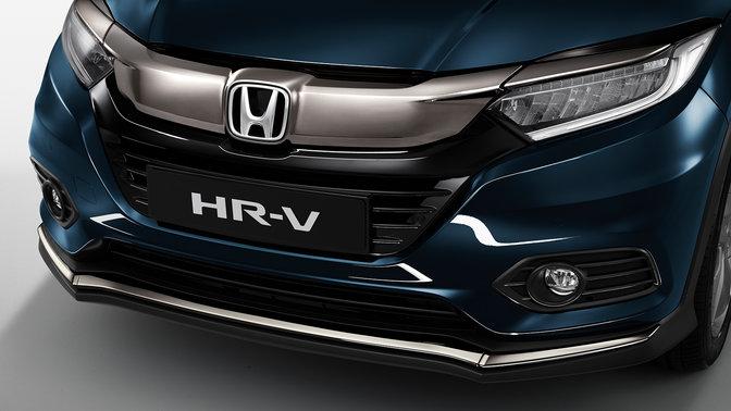 Predný trojštvrťový pohľad na model Honda HR-V.
