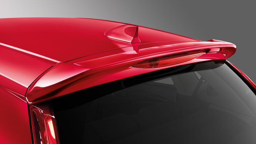Zadný trojštvrťový pohľad na spojler modelu Honda Jazz.