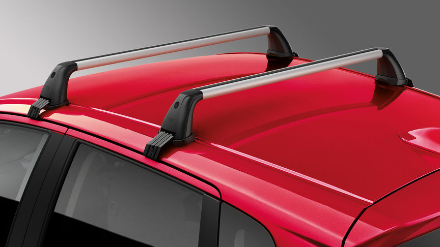 Detailný záber na strešný nosič modelu Honda Jazz.