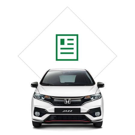Predný pohľad na model Honda Jazz sgrafikou katalógu.